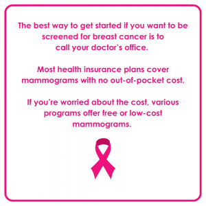 """Pink and white graphic that says """"The best way to get started if you want to be screened for breast cancer is to call your doctor's office. Most health insurance plans cover mammograms with no out-of-pocket cost. If you're worried about the cost, various programs offer free or low-cost mammograms."""