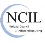 Logo for National Council for Independent Living. Logo is light blue crescent-shape with NCIL in black text.