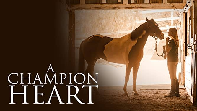 Promotional image for the file A Champion Heart. Photo with silhouette of a girl and a horse in a stable.
