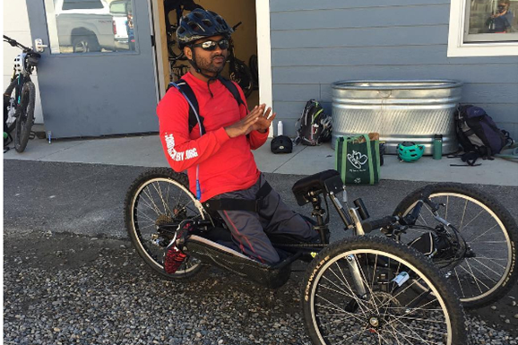 Damon Walker in an adaptive bicycle.