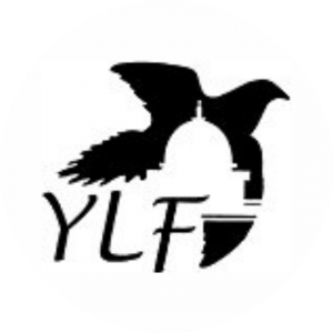 Logo for Maryland Youth Leadership Forum. Logo is a silhouette of the state capitol building against a bird with the letters YLF in the foreground.