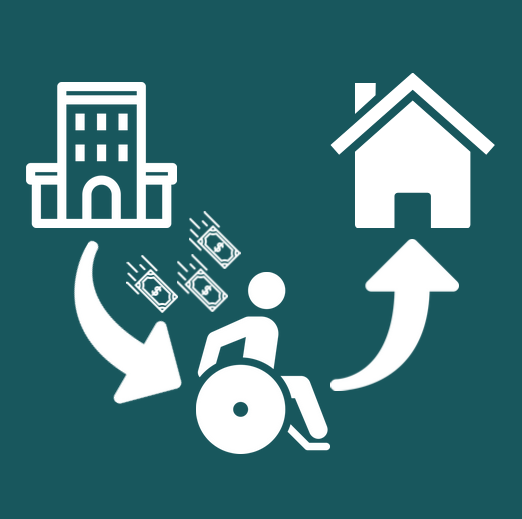 Graphic of a person in a wheelchair leaving a nursing facility and entering a home with dollars following the person.