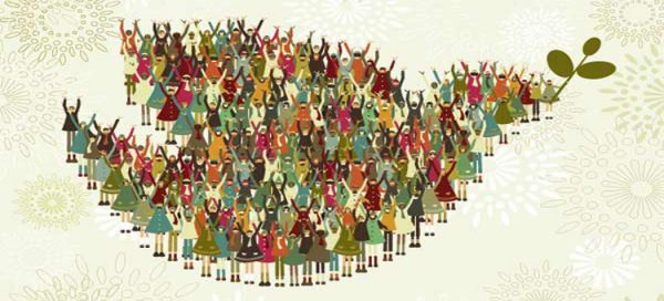 Illustration of many people from around the world in differet traditional clothing standing together forming the shape of a peace dove.