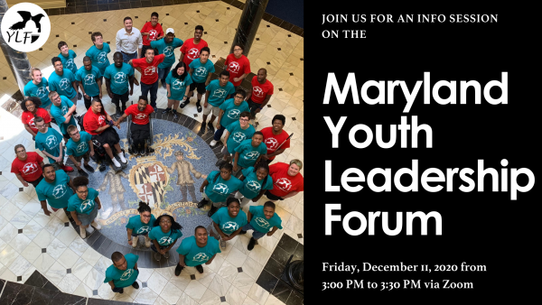 Photo of Maryland Youth Leadership Forum delegates in red and teal shirt looking up from the floor of the Maryland State Capitol Building