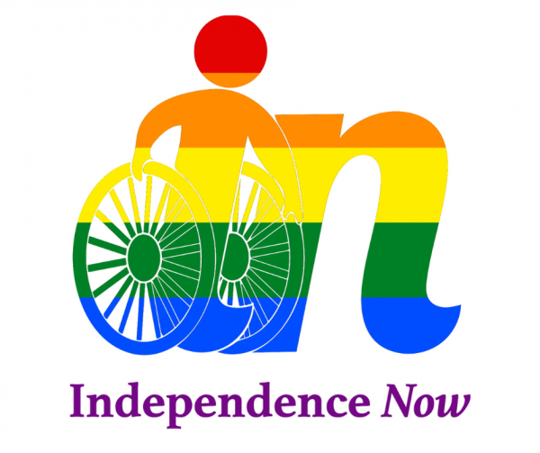 Image of the independence now logo with rainbow flag colors.