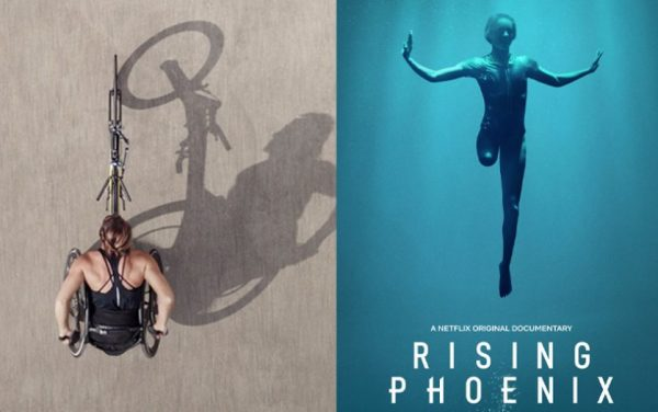promotional image for the film rising phoenix featuring an amputee in the water and a person using a sport wheelchair bicycle