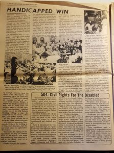 Photo of edition of the Black Panther Party newspaper describing the 504 protests at the San Francisco Federal Building in 1977.