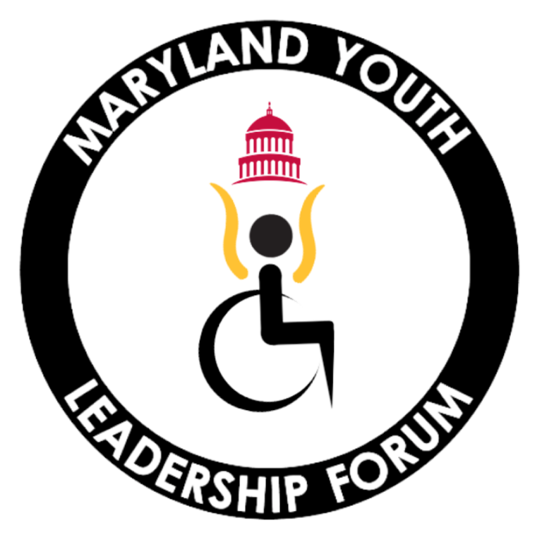 Logo consisting of a black, abstract image of a person in a wheelchair with their arms extended into the air. Their arms are yellow and they are holding up an image of a red capitol building. Black border around logo that says Maryland Youth Leadership Forum.