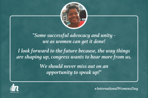 """green graphic with photo of rochelle harrod and quote that says """"Some successful advocacy and unity - we as women can get it done! I look forward to the future because, the way things are shaping up, congress wants to hear more from us. We should never miss out on an opportunity to speak up!"""""""