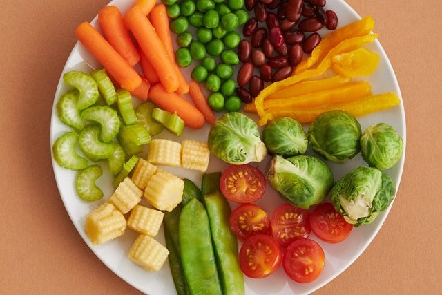 Photo of plate full of colorful veggies.