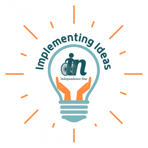 """Graphic of a light bulb with hands inside holding up the independence now logo and words that say """"implementing ideas."""""""