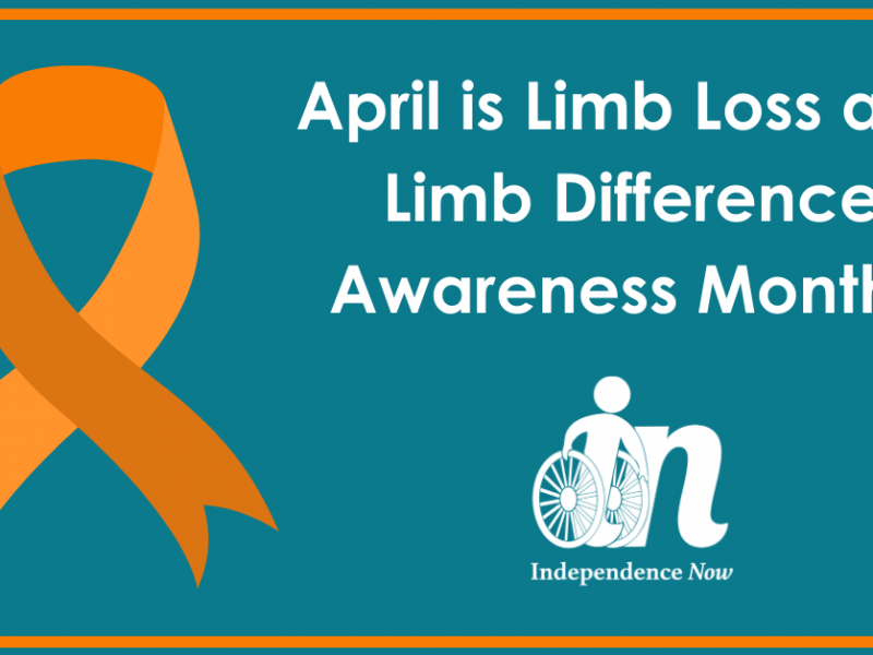 Teal graphic with orange ribbon that says April is limb loss and limb difference awareness month.