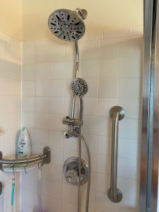 photo of dual shower head with lowered hand nozzle installed in a shower next to a vertical grab bar.