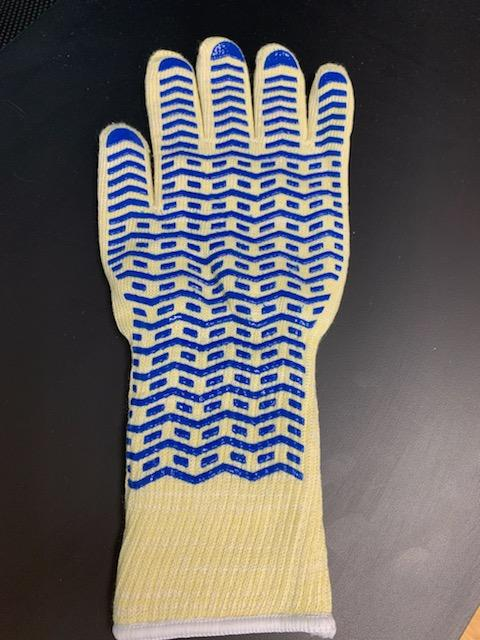 Photo of blue and white oven mit glove.