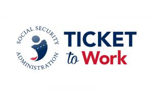 Logo for the social security administration's ticket to work program.