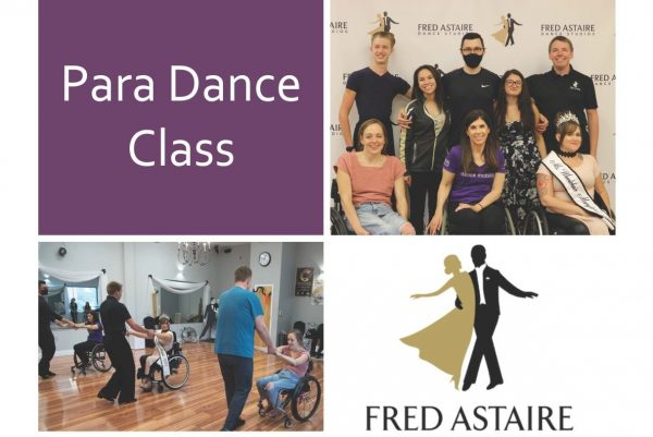 Photos of wheelchair users dancing with dance partners.