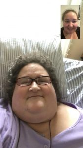 Screenshot of Supports planner Nina russell facetiming with supports planning agency consumer, janice.