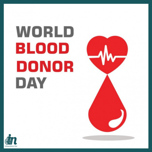 """Red, white and gray graphic that says """"World Blood Donor Day"""" with image of heart with a heartbeat line over a drop of blood."""