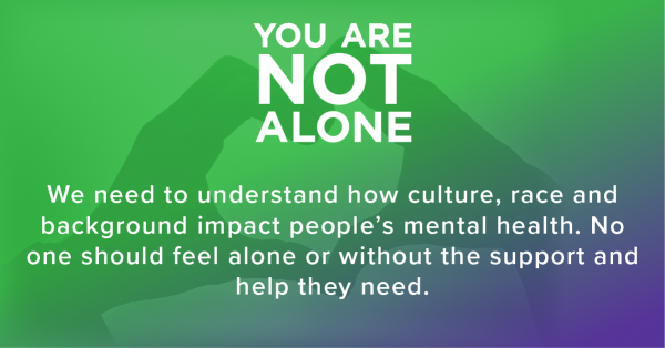 """Green graphic with hand coming together in the shape of a heart and text that says """"You are not alone. We need to understand how Culture, race, and background impact people's mental health. No one should feel alone and without the support and hep they need."""""""