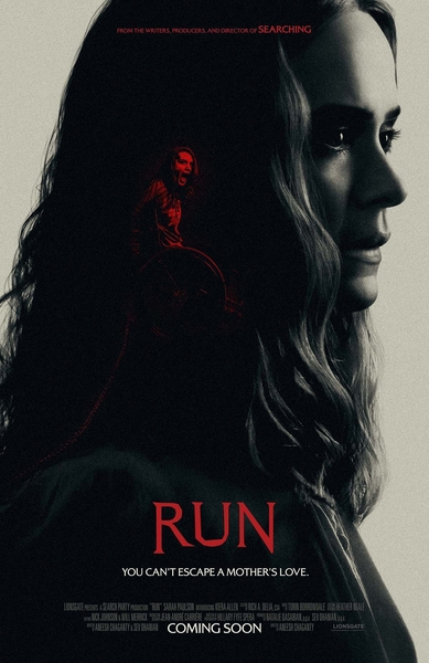 Promotional poster for the film RUN featuring dark photo of actress Sarah Paulson and within a red image of actress Kiera Allen screaming.