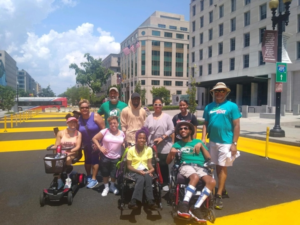 Photo of group from the RELiving with CP Team on a street in Washington, D.C.