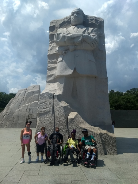 Photo of group from the RELiving with CP Team at the Martin Luther King, Jr. Memorial in Washington, D.C.