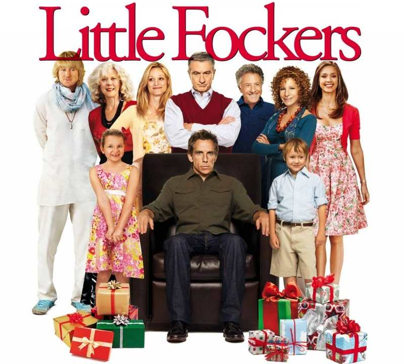 Promotional graphic for the film LIttle Fockers featuring actor Ben Stiller surrounded by family members with holiday presents.