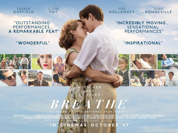 Promotional graphic for the film Breathe with lead actors Andrew Garfield and Claire Foy in a loving embrace.