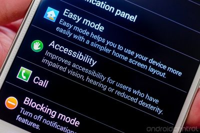 Photo of smart phone with accessibility menu on screen.
